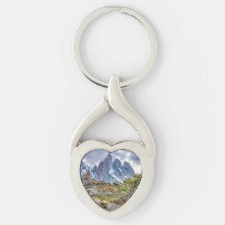 Montagnes de Milou à l'EL Chalten Argenti de Porte-clé Argenté Cœur Torsadé