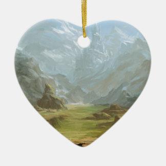 Montagnes et neige ornement cœur en céramique
