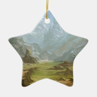 Montagnes et neige ornement étoile en céramique