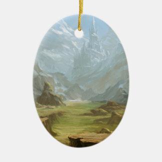 Montagnes et neige ornement ovale en céramique