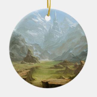 Montagnes et neige ornement rond en céramique