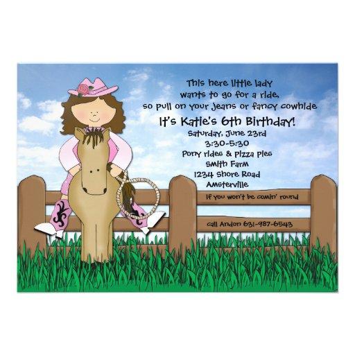Montez-les invitation de cow-girl