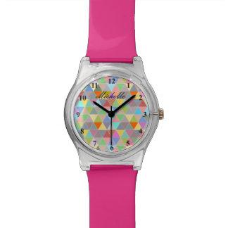 Montre à la mode de filles avec le motif montres cadran