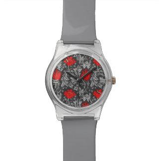 Montre Anémone de William Morris, gris/gris et rouge