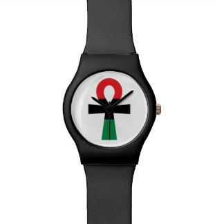 Montre Ankh rouge, noir et vert