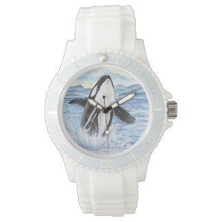 Montre Aquarelle ouvrant une brèche la baleine d'orque