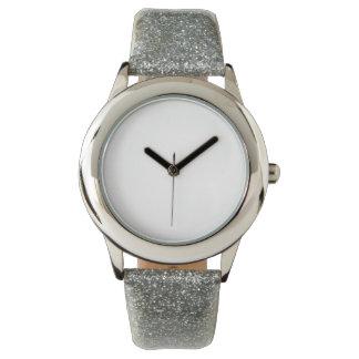 Montre argentée de courroie du scintillement de montres cadran