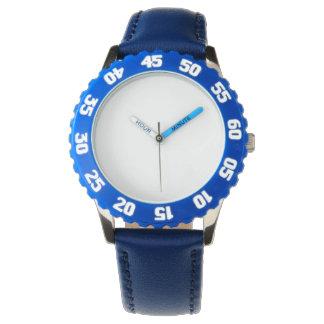 Montre bleue d'acier inoxydable avec l'encadrement montres
