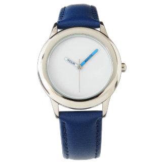 Montre bleue de bracelet en cuir de l'acier montres cadran