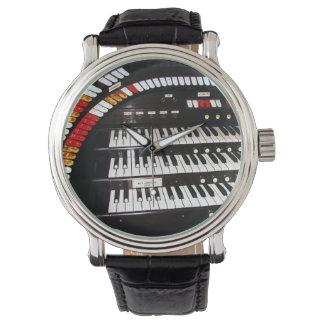 Montre-bracelet antique de clavier d'organe, montres cadran