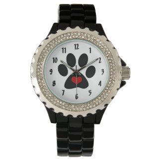 Montre-bracelet d'amour d'empreinte de patte montres
