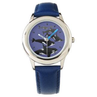 Montre-bracelet d'art d'épaulard de montre de montres bracelet