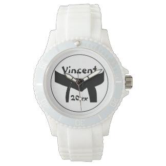 Montre-bracelet de base de ceinture noire d'arts montres cadran