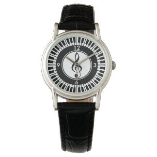 Montre-bracelet de clés de piano de concepteur et montres cadran