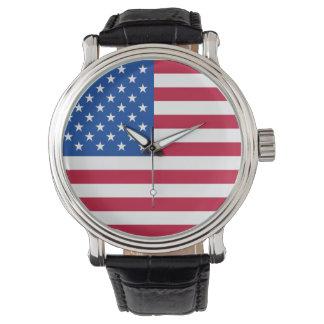 Montre-bracelet patriotique de drapeau américain montres bracelet