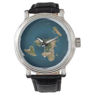 Montre-bracelet plate de carte de la terre montres bracelet