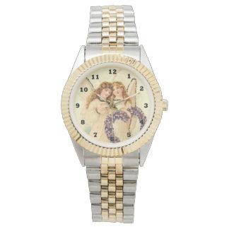Montre-bracelet vintage de ton des anges deux montres bracelet