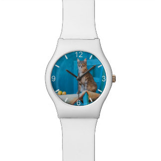 Montre Cadran-plat bleu de photo de chaise de chaton