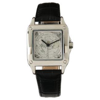 Montre carrée équidistante azimutale de carte de montres