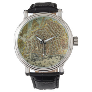 Montre Carte antique d'Amsterdam, Hollande aka Pays-Bas