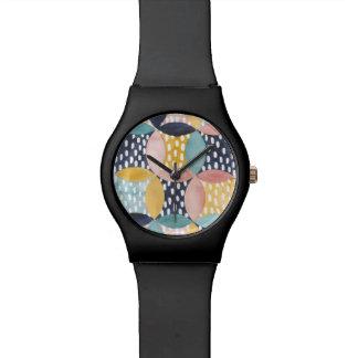 Montre Cercles géométriques d'aquarelle