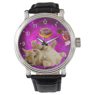 Montre Chat de beignet - chat d'animal familier - chat de