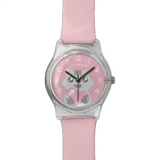 Montre Chat mignon tenant le coeur rose