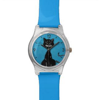 Montre Chat noir mauvais en lambeaux bleu
