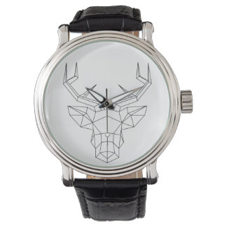 """Montre classique cuir Homme """"Geometric deer"""""""