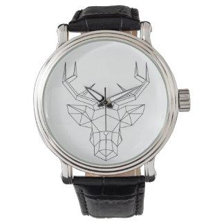"""Montre classique cuir Homme """"Geometric deer"""" Montres Cadran"""