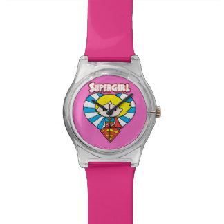 Montre Coeur et logo de Chibi Supergirl Starburst