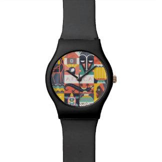 Montre Collage symbolique africain d'art
