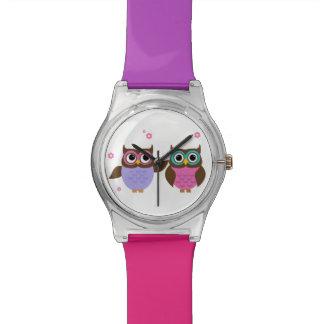 Montre colorée d'amis mignons de hibou montres cadran