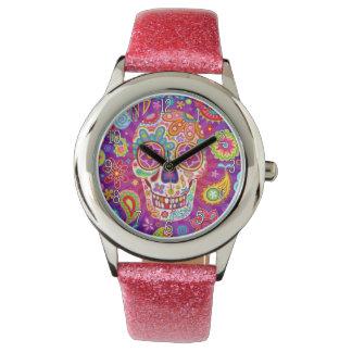 Montre colorée de crâne de sucre - jour des morts montres bracelet