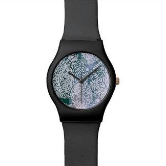 Montre Conception abstraite de flower power de bleu