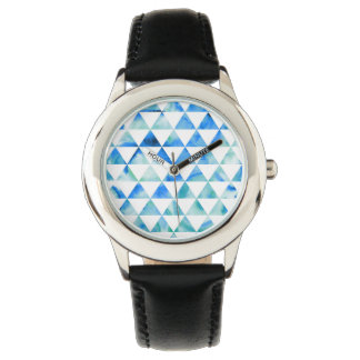 Montre Conception bleue de triangle d'aquarelle