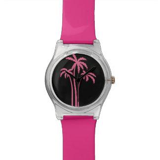 Montre Conception tropicale rose de palmier