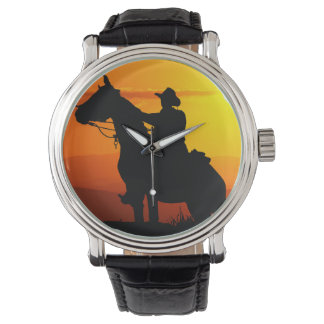 Montre Cowboy-Cowboy-soleil-occidental-pays de coucher du