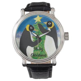 Montre Cuir vintage noir fait sur commande de Noël de
