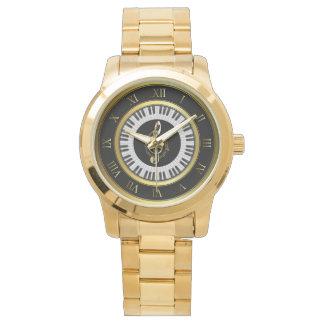 montre de bracelet de note de musique de cercle de montres
