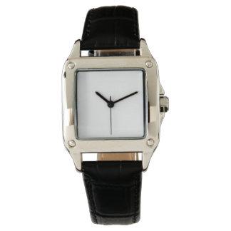 Montre de bracelet en cuir de noir du carré montres bracelet