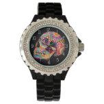 Montre de crâne de sucre - jour de l'art mort montres bracelet