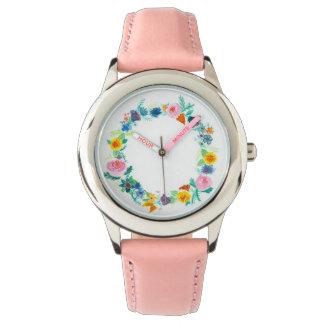 Montre de dames florale féminine de guirlande montres cadran
