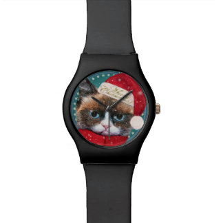 Montre de Noël May28th de chat de Meowy Père Noël