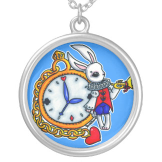 Montre de poche blanche de lapin pendentif rond