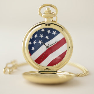 Montre de poche de drapeau américain