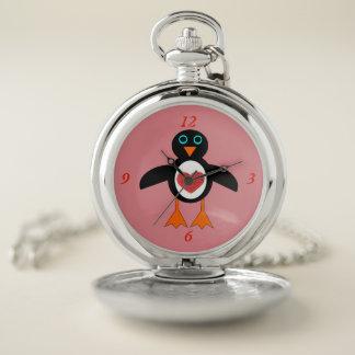 Montre de poche mignonne de pingouin de coeur