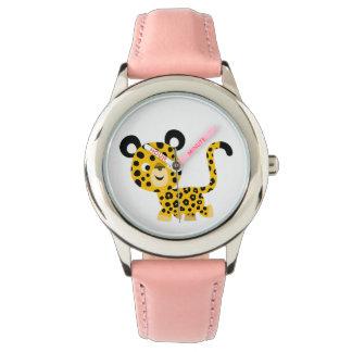 Montre de sourire de léopard de bande dessinée montres