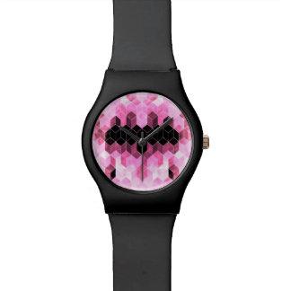 Montre Dessin géométrique rose et noir intense