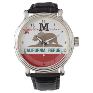 Montre Drapeau rond brillant de la Californie